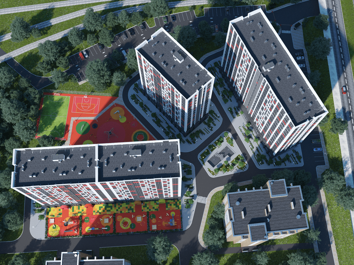 Территория и развязка жилого комплекса
